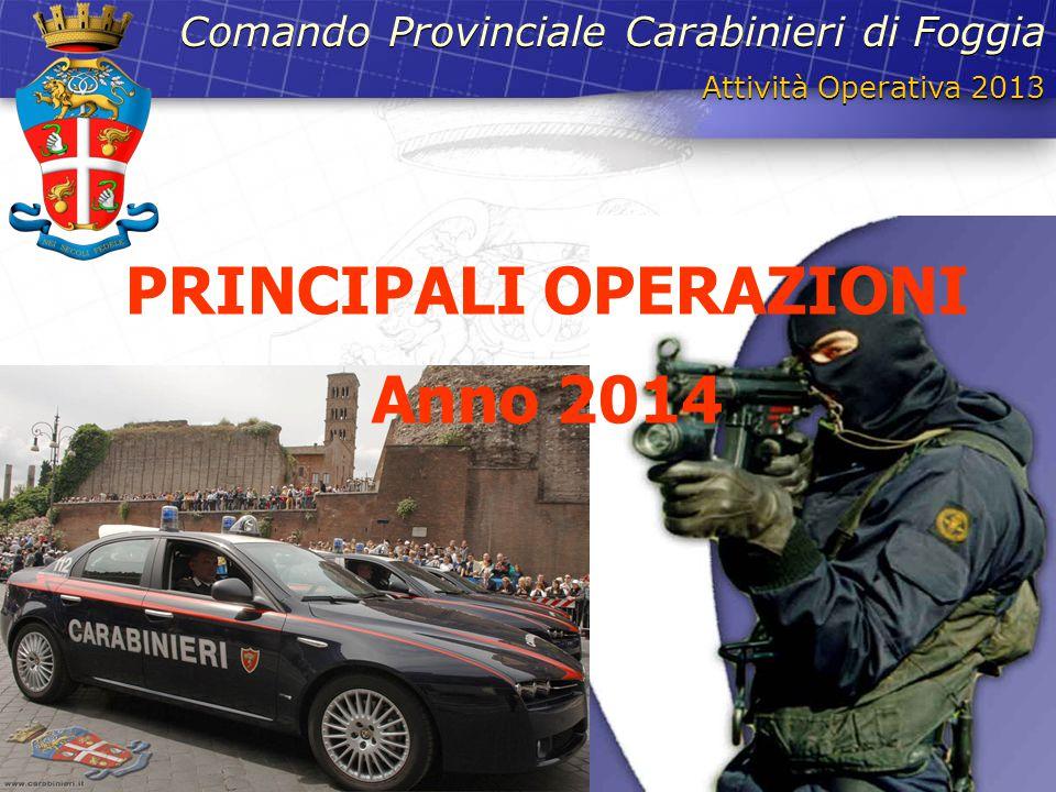 Attività Operativa 2013 Comando Provinciale Carabinieri di Foggia PRINCIPALI OPERAZIONI Anno 2014