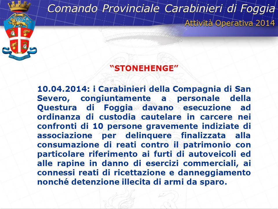 Attività Operativa 2014 Comando Provinciale Carabinieri di Foggia 10.04.2014: i Carabinieri della Compagnia di San Severo, congiuntamente a personale