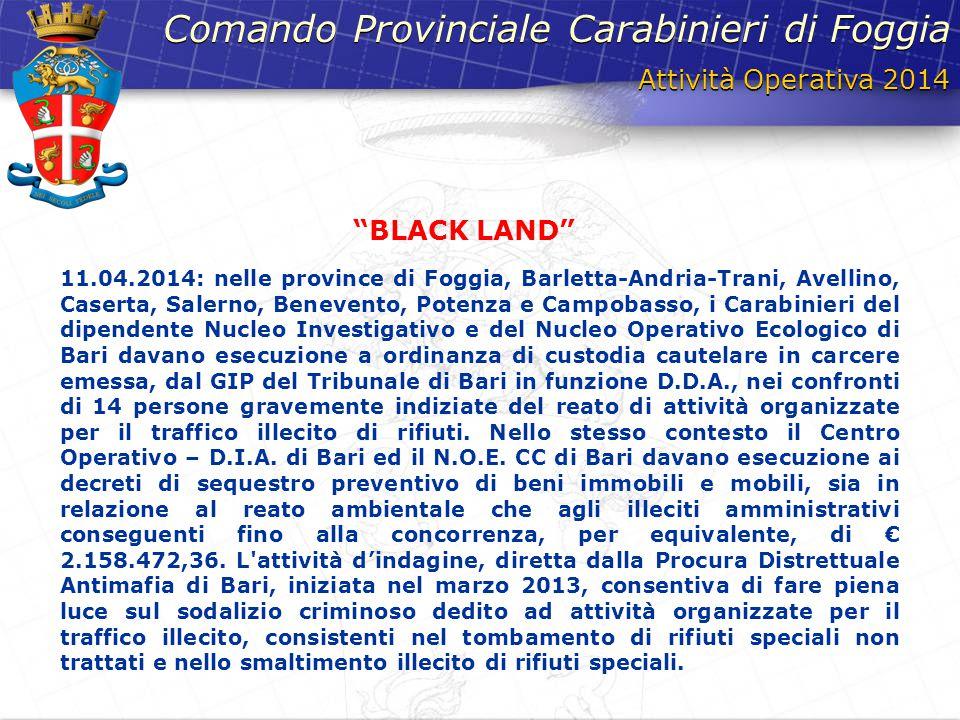 Attività Operativa 2014 Comando Provinciale Carabinieri di Foggia 11.04.2014: nelle province di Foggia, Barletta-Andria-Trani, Avellino, Caserta, Sale