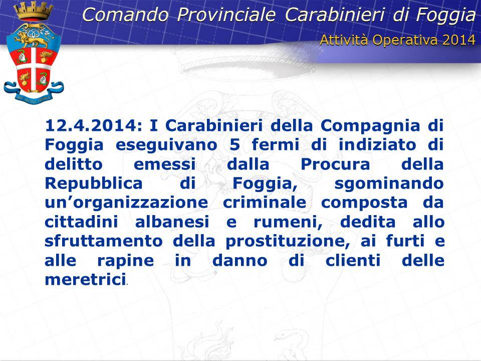 Attività Operativa 2014 Comando Provinciale Carabinieri di Foggia 12.4.2014: I Carabinieri della Compagnia di Foggia eseguivano 5 fermi di indiziato d