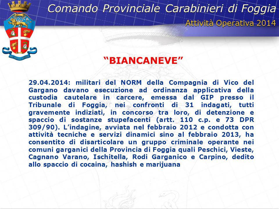 Attività Operativa 2014 Comando Provinciale Carabinieri di Foggia 29.04.2014: militari del NORM della Compagnia di Vico del Gargano davano esecuzione