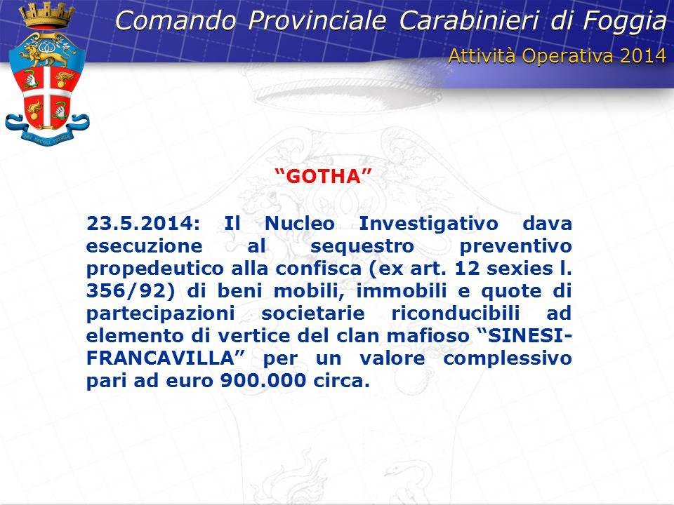 Attività Operativa 2014 Comando Provinciale Carabinieri di Foggia 23.5.2014: Il Nucleo Investigativo dava esecuzione al sequestro preventivo propedeut