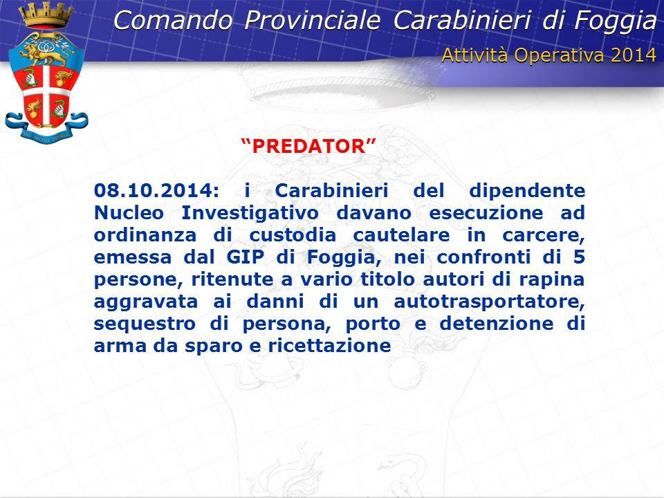 Attività Operativa 2014 Comando Provinciale Carabinieri di Foggia 08.10.2014: i Carabinieri del dipendente Nucleo Investigativo davano esecuzione ad o