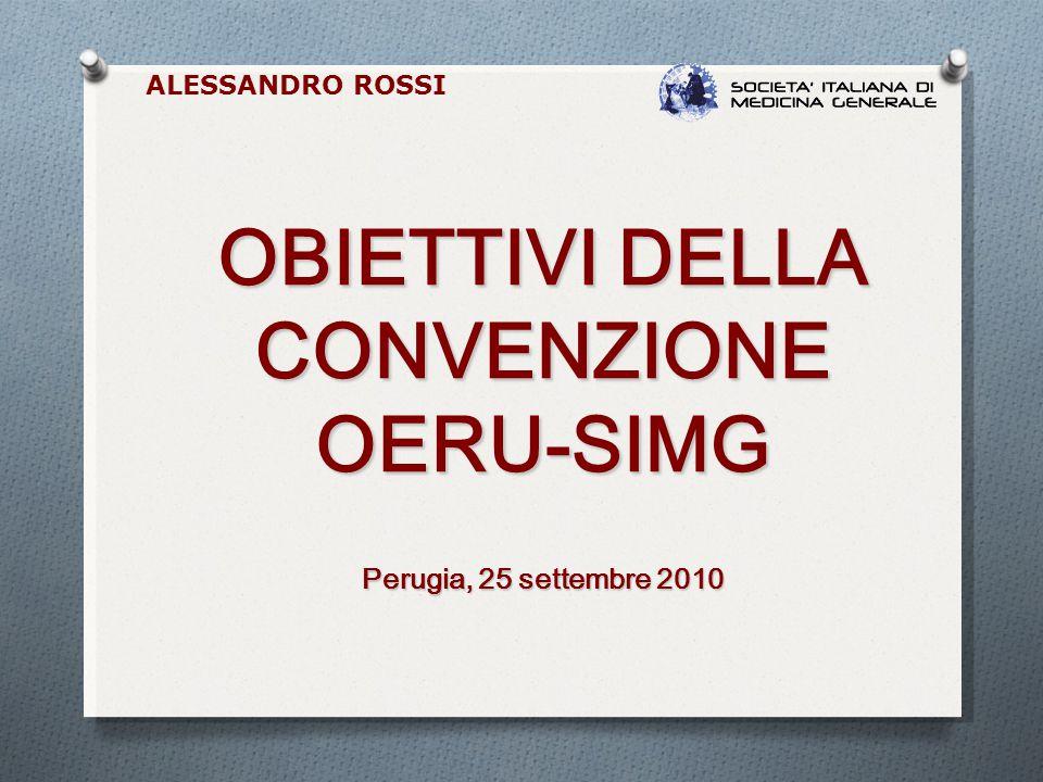 OBIETTIVI DELLA CONVENZIONE OERU-SIMG Perugia, 25 settembre 2010 ALESSANDRO ROSSI