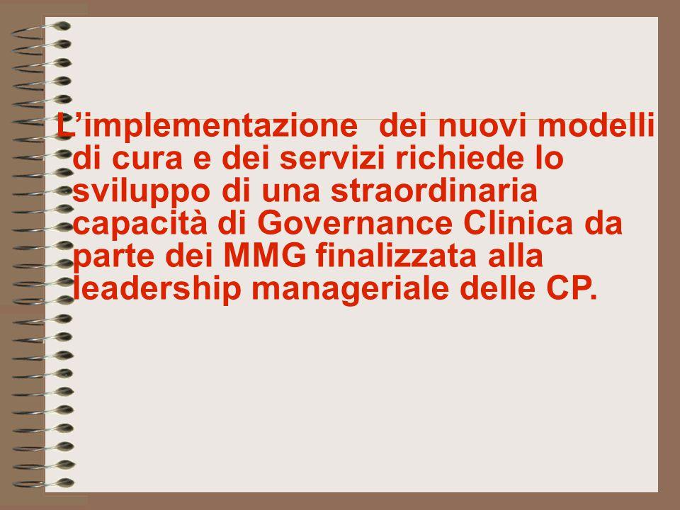L'implementazione dei nuovi modelli di cura e dei servizi richiede lo sviluppo di una straordinaria capacità di Governance Clinica da parte dei MMG fi
