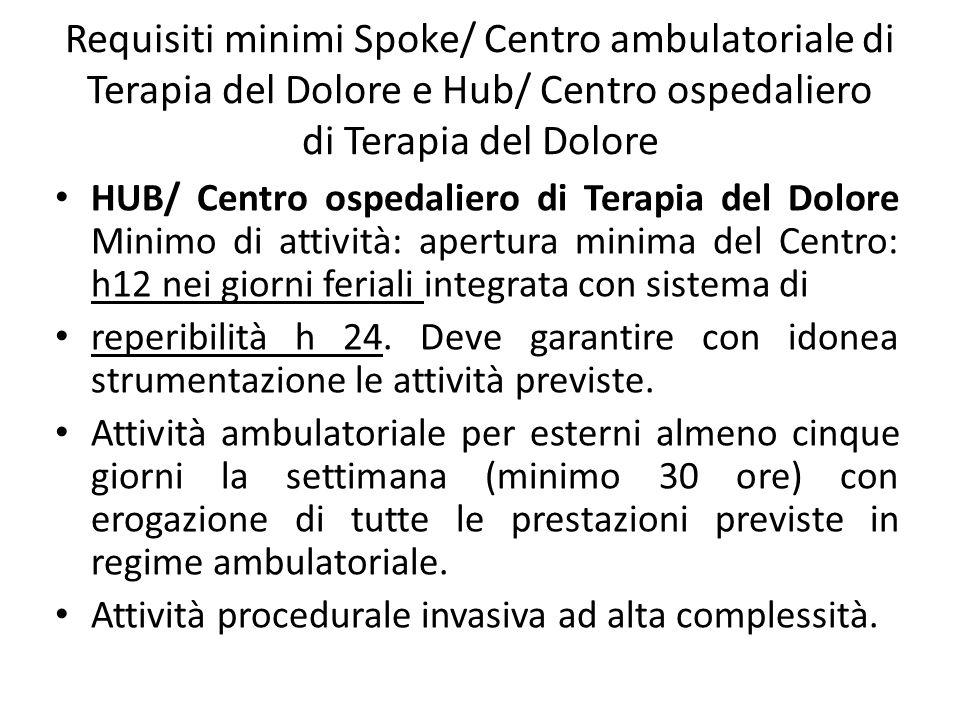 Requisiti minimi Spoke/ Centro ambulatoriale di Terapia del Dolore e Hub/ Centro ospedaliero di Terapia del Dolore HUB/ Centro ospedaliero di Terapia del Dolore Minimo di attività: apertura minima del Centro: h12 nei giorni feriali integrata con sistema di reperibilità h 24.