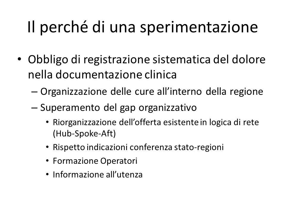 Il perché di una sperimentazione Obbligo di registrazione sistematica del dolore nella documentazione clinica – Organizzazione delle cure all'interno della regione – Superamento del gap organizzativo Riorganizzazione dell'offerta esistente in logica di rete (Hub-Spoke-Aft) Rispetto indicazioni conferenza stato-regioni Formazione Operatori Informazione all'utenza