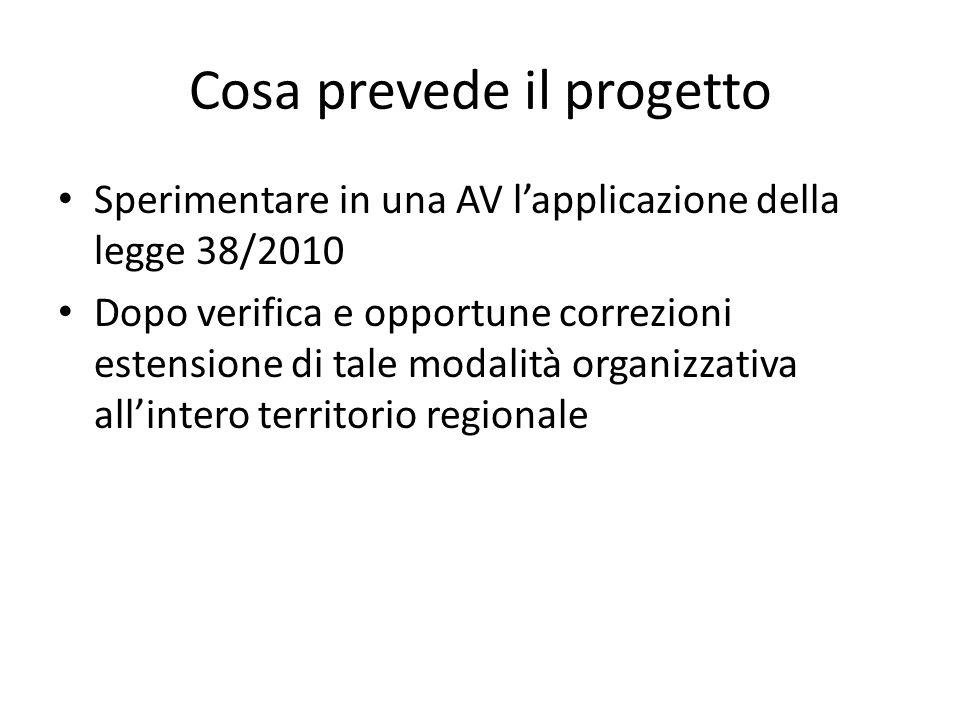 Cosa prevede il progetto Sperimentare in una AV l'applicazione della legge 38/2010 Dopo verifica e opportune correzioni estensione di tale modalità organizzativa all'intero territorio regionale