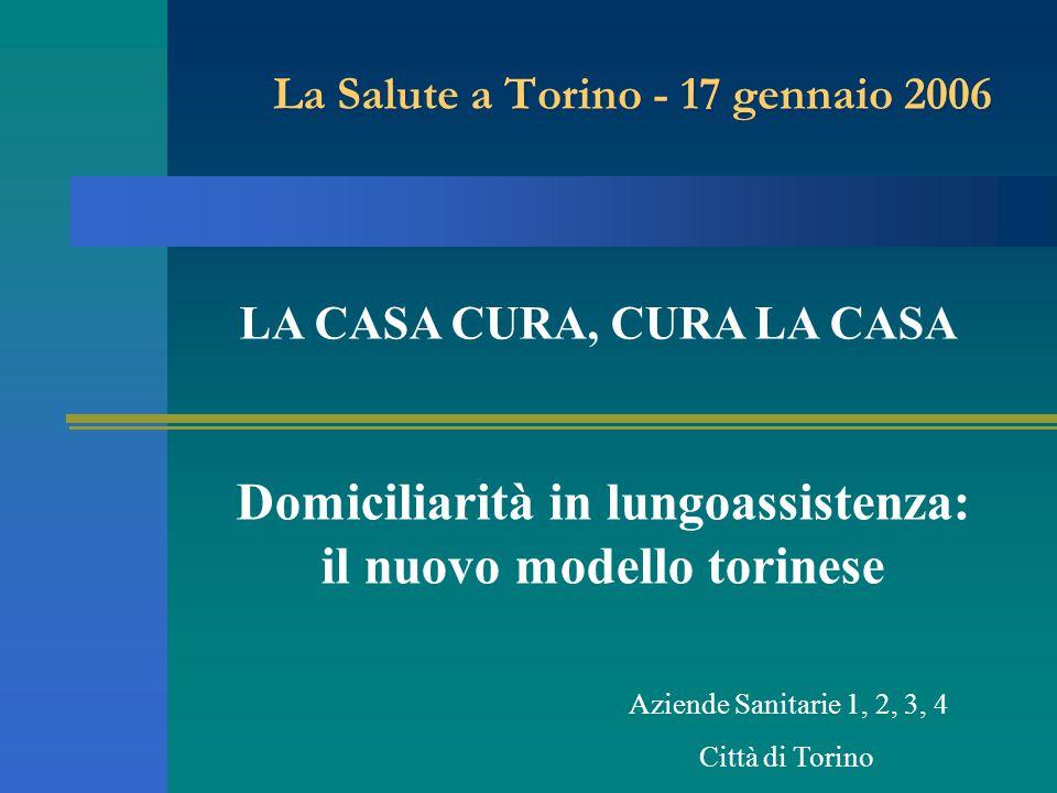 La Salute a Torino - 17 gennaio 2006 Domiciliarità in lungoassistenza: il nuovo modello torinese Aziende Sanitarie 1, 2, 3, 4 Città di Torino LA CASA CURA, CURA LA CASA