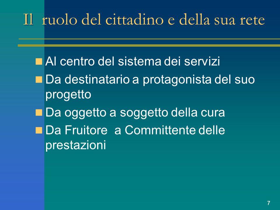 7 Il ruolo del cittadino e della sua rete Al centro del sistema dei servizi Da destinatario a protagonista del suo progetto Da oggetto a soggetto della cura Da Fruitore a Committente delle prestazioni