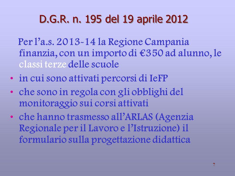 7 D.G.R.n. 195 del 19 aprile 2012 Per l'a.s.
