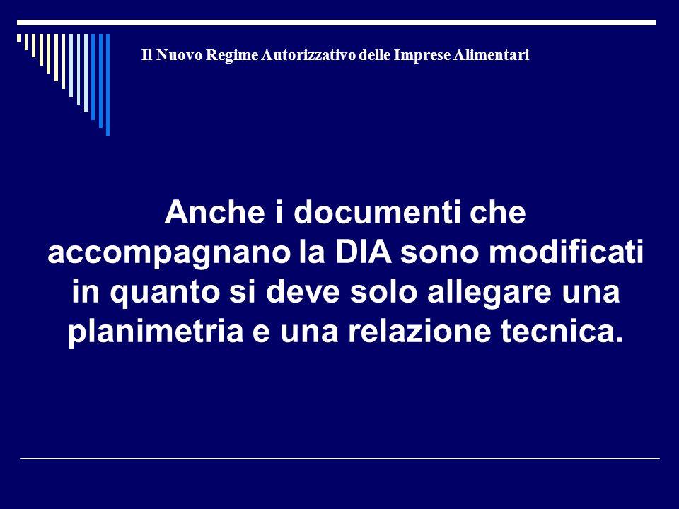 Il Nuovo Regime Autorizzativo delle Imprese Alimentari Anche i documenti che accompagnano la DIA sono modificati in quanto si deve solo allegare una planimetria e una relazione tecnica.