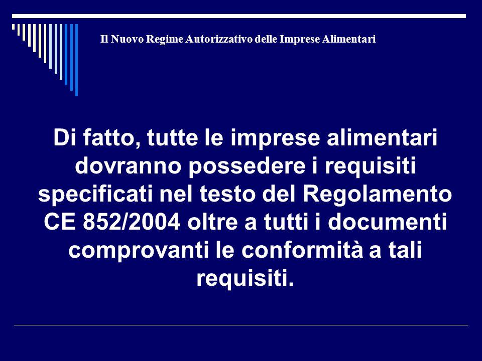 Il Nuovo Regime Autorizzativo delle Imprese Alimentari Di fatto, tutte le imprese alimentari dovranno possedere i requisiti specificati nel testo del Regolamento CE 852/2004 oltre a tutti i documenti comprovanti le conformità a tali requisiti.
