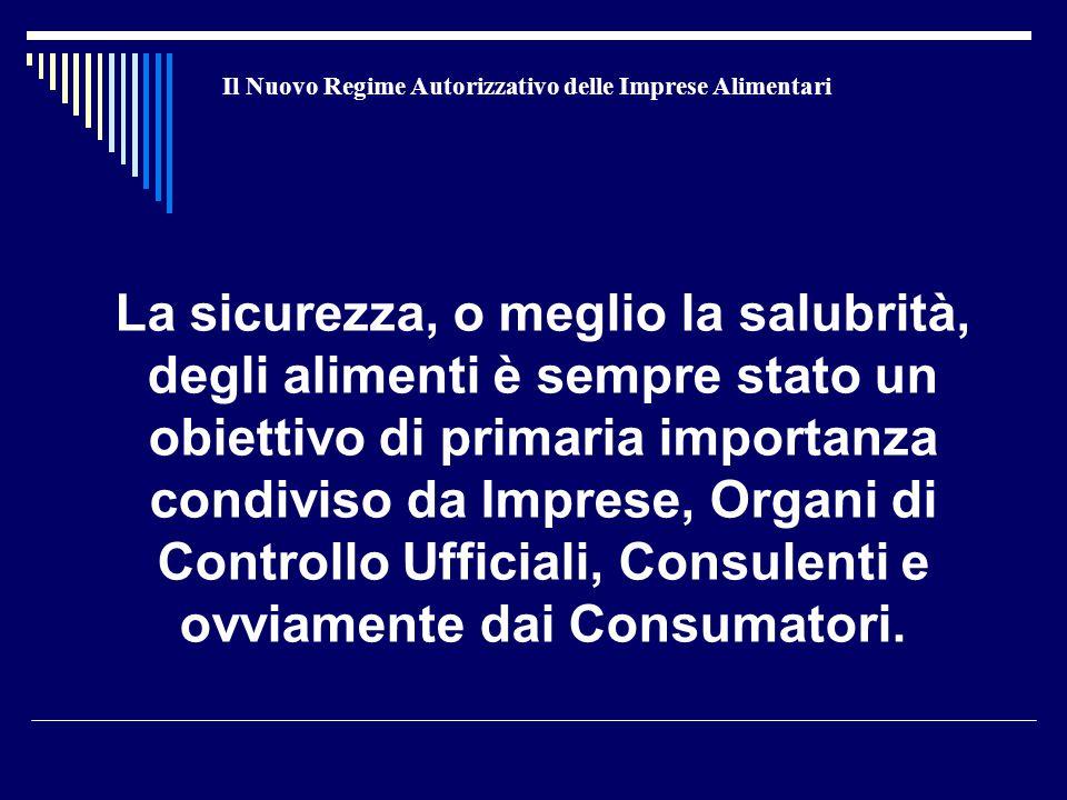 Il Nuovo Regime Autorizzativo delle Imprese Alimentari La sicurezza, o meglio la salubrità, degli alimenti è sempre stato un obiettivo di primaria importanza condiviso da Imprese, Organi di Controllo Ufficiali, Consulenti e ovviamente dai Consumatori.