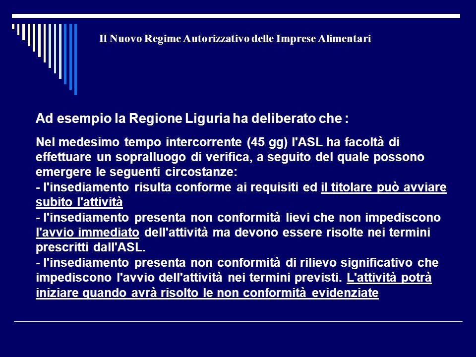 Il Nuovo Regime Autorizzativo delle Imprese Alimentari Ad esempio la Regione Liguria ha deliberato che : Nel medesimo tempo intercorrente (45 gg) l ASL ha facoltà di effettuare un sopralluogo di verifica, a seguito del quale possono emergere le seguenti circostanze: - l insediamento risulta conforme ai requisiti ed il titolare può avviare subito l attività - l insediamento presenta non conformità lievi che non impediscono l avvio immediato dell attività ma devono essere risolte nei termini prescritti dall ASL.