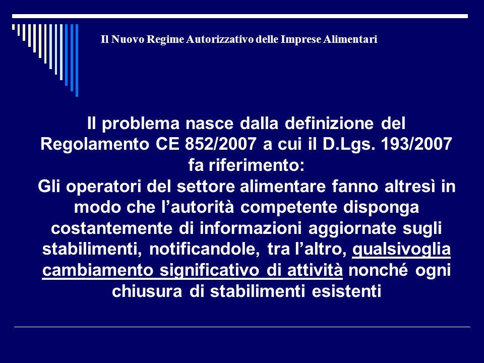Il Nuovo Regime Autorizzativo delle Imprese Alimentari Il problema nasce dalla definizione del Regolamento CE 852/2007 a cui il D.Lgs. 193/2007 fa rif