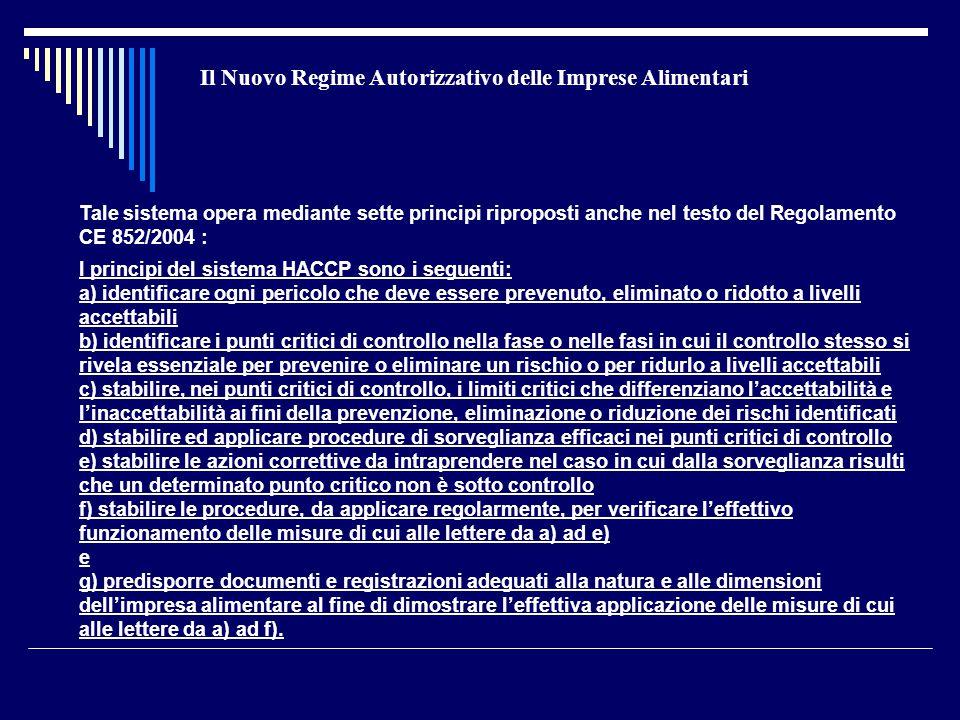 Il Nuovo Regime Autorizzativo delle Imprese Alimentari Tale sistema opera mediante sette principi riproposti anche nel testo del Regolamento CE 852/20