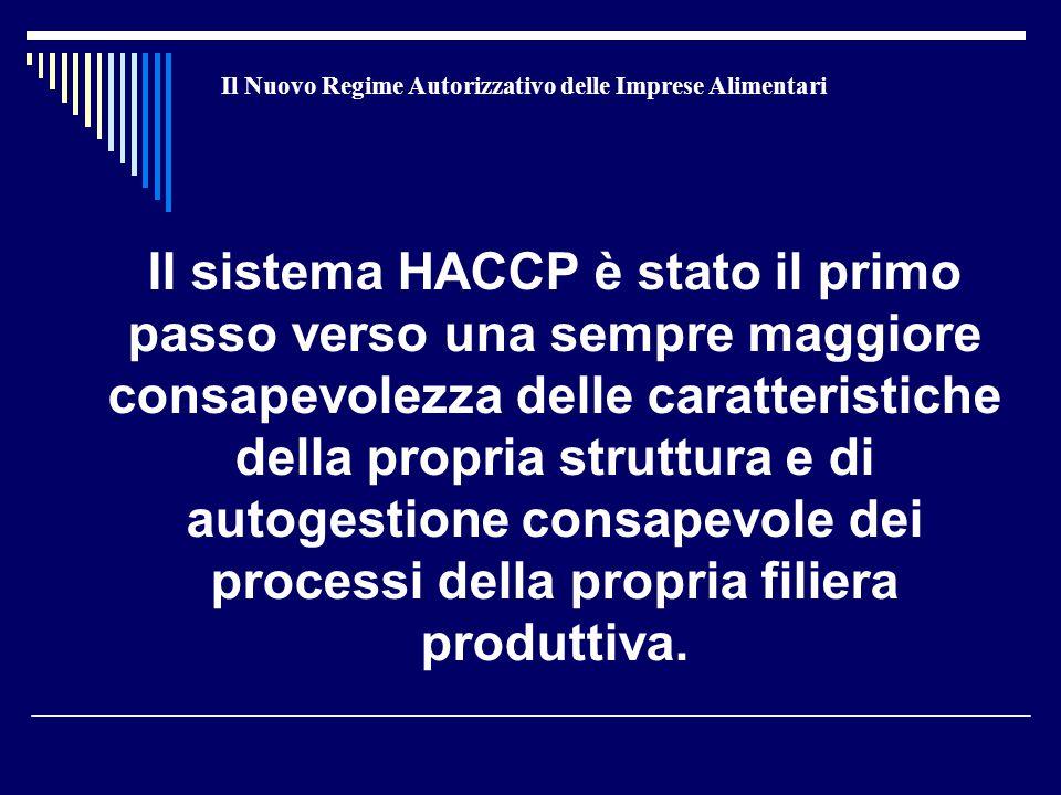 Il Nuovo Regime Autorizzativo delle Imprese Alimentari Il sistema HACCP è stato il primo passo verso una sempre maggiore consapevolezza delle caratteristiche della propria struttura e di autogestione consapevole dei processi della propria filiera produttiva.
