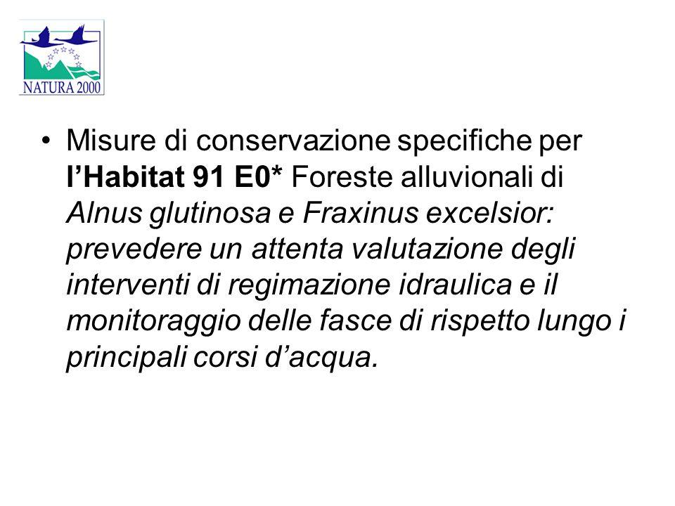 Misure di conservazione specifiche per l'Habitat 91 E0* Foreste alluvionali di Alnus glutinosa e Fraxinus excelsior: prevedere un attenta valutazione