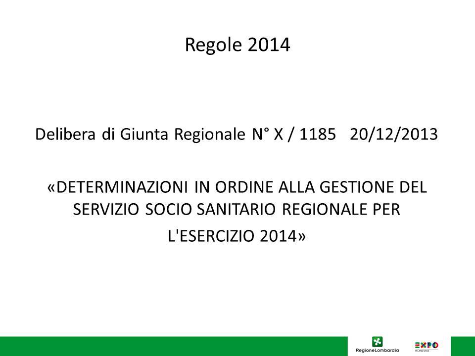 Regole 2014 Delibera di Giunta Regionale N° X / 1185 20/12/2013 «DETERMINAZIONI IN ORDINE ALLA GESTIONE DEL SERVIZIO SOCIO SANITARIO REGIONALE PER L ESERCIZIO 2014»