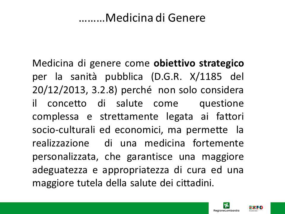 ………Medicina di Genere Medicina di genere come obiettivo strategico per la sanità pubblica (D.G.R.
