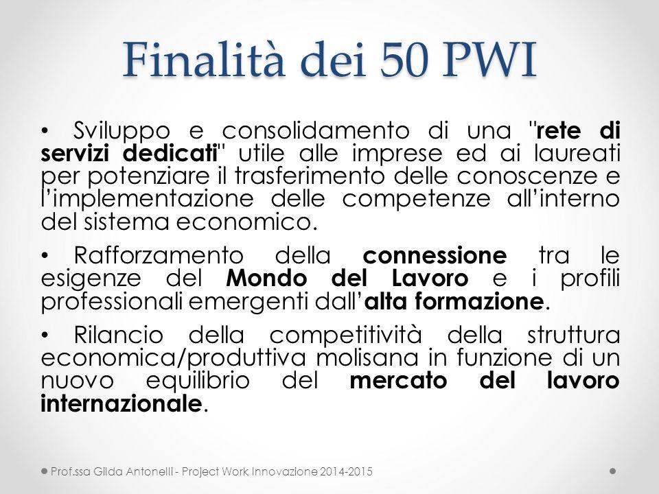 Finalità dei 50 PWI Sviluppo e consolidamento di una rete di servizi dedicati utile alle imprese ed ai laureati per potenziare il trasferimento delle conoscenze e l'implementazione delle competenze all'interno del sistema economico.