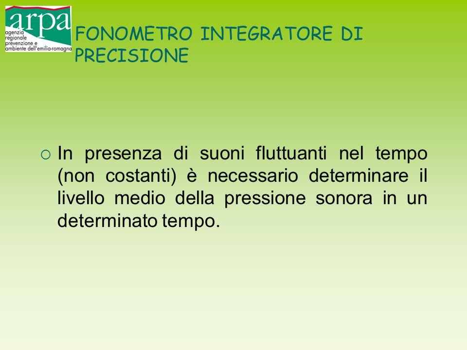 FONOMETRO INTEGRATORE DI PRECISIONE  In presenza di suoni fluttuanti nel tempo (non costanti) è necessario determinare il livello medio della pressio
