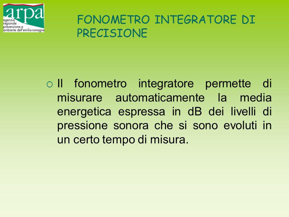 FONOMETRO INTEGRATORE DI PRECISIONE  Il fonometro integratore permette di misurare automaticamente la media energetica espressa in dB dei livelli di