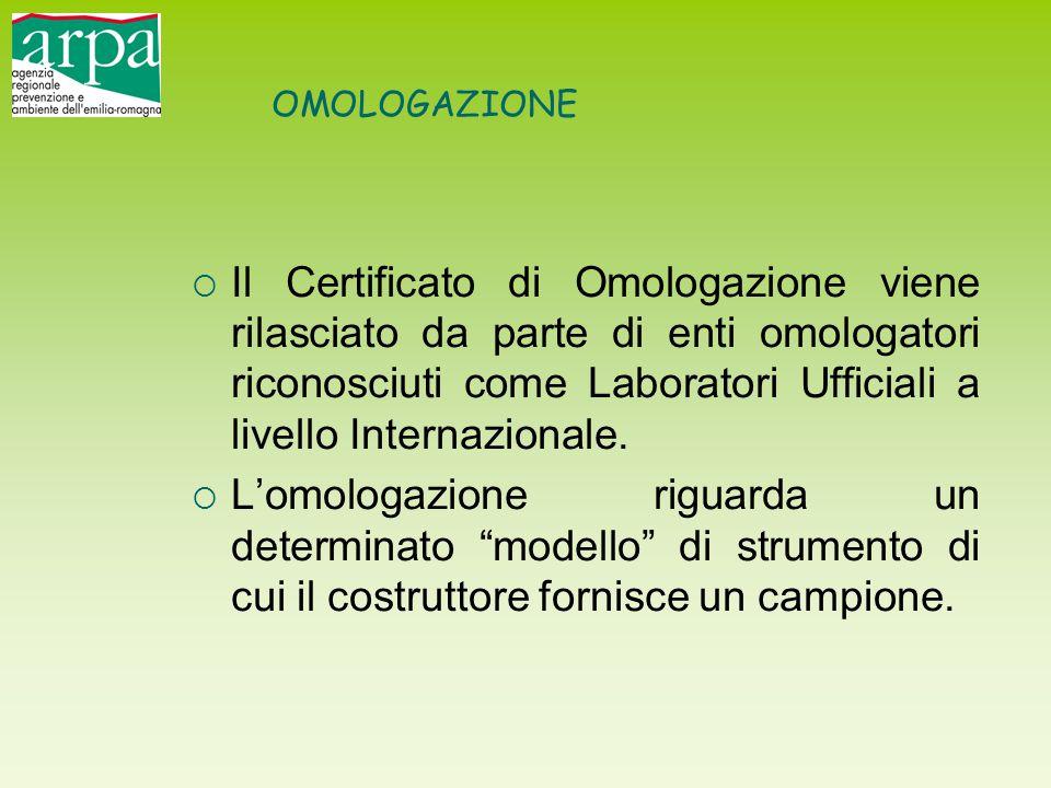 OMOLOGAZIONE  Il Certificato di Omologazione viene rilasciato da parte di enti omologatori riconosciuti come Laboratori Ufficiali a livello Internazi