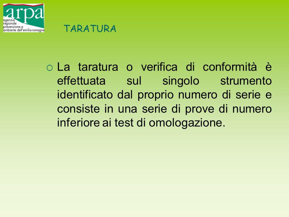 TARATURA  La taratura o verifica di conformità è effettuata sul singolo strumento identificato dal proprio numero di serie e consiste in una serie di