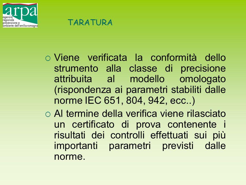 TARATURA  Viene verificata la conformità dello strumento alla classe di precisione attribuita al modello omologato (rispondenza ai parametri stabilit