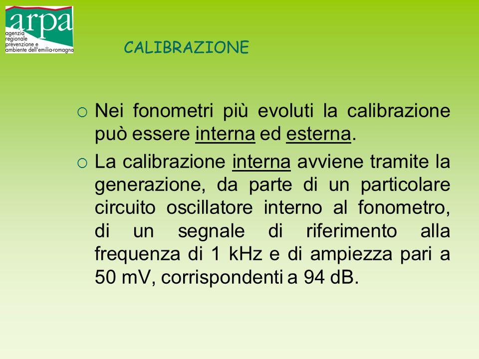 CALIBRAZIONE  Nei fonometri più evoluti la calibrazione può essere interna ed esterna.  La calibrazione interna avviene tramite la generazione, da p