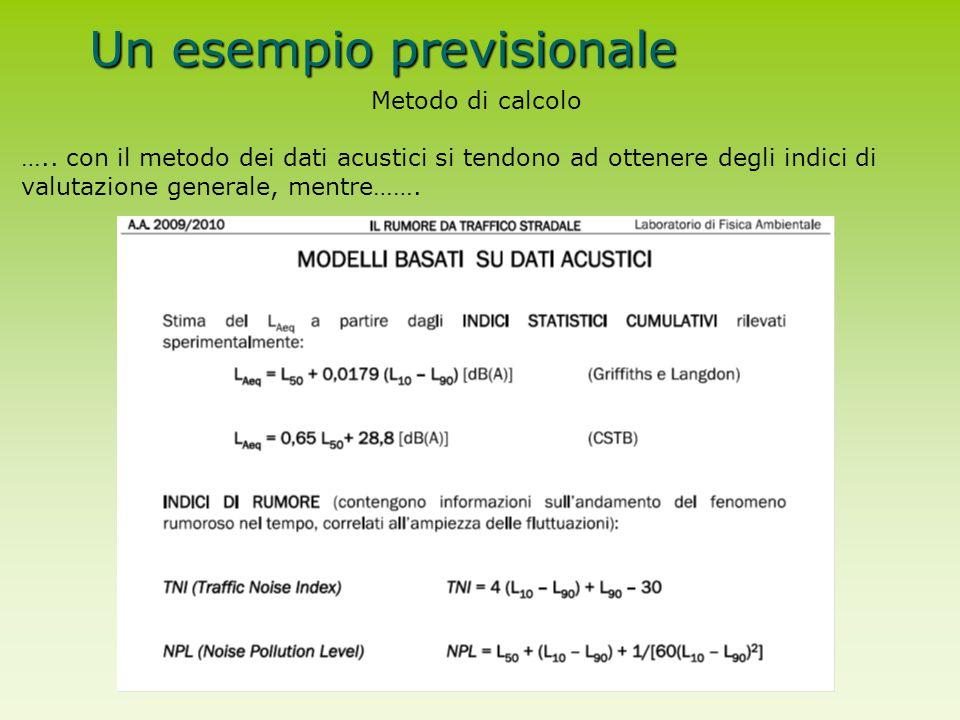Un esempio previsionale Metodo di calcolo ….. con il metodo dei dati acustici si tendono ad ottenere degli indici di valutazione generale, mentre…….