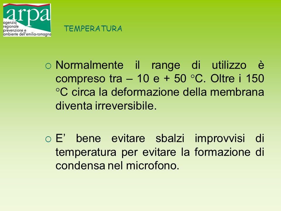 TEMPERATURA  Normalmente il range di utilizzo è compreso tra – 10 e + 50 °C. Oltre i 150 °C circa la deformazione della membrana diventa irreversibil