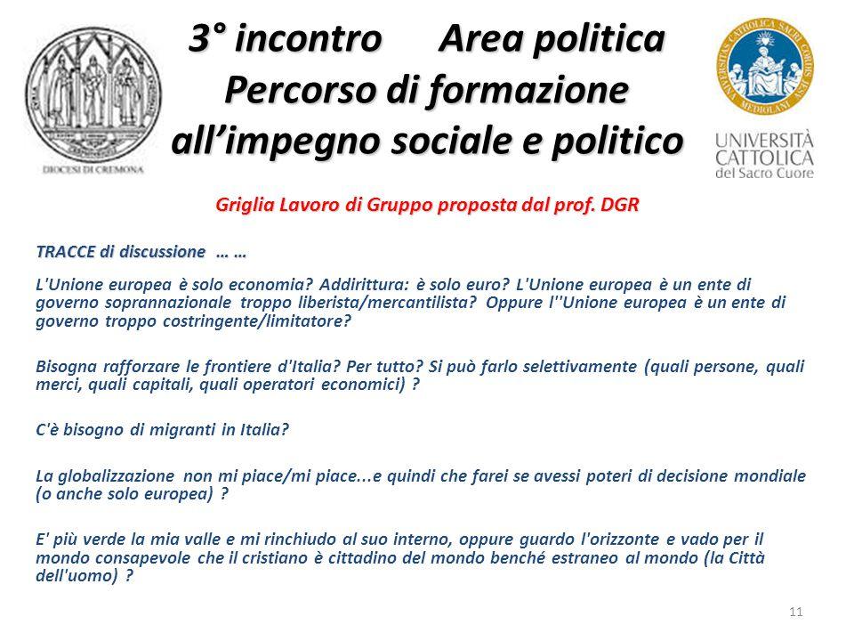 11 3° incontro Area politica Percorso di formazione all'impegno sociale e politico Griglia Lavoro di Gruppo proposta dal prof.