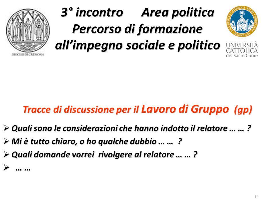12 3° incontro Area politica Percorso di formazione all'impegno sociale e politico Tracce di discussione per il Lavoro di Gruppo (gp)  Quali sono le considerazioni che hanno indotto il relatore … … .