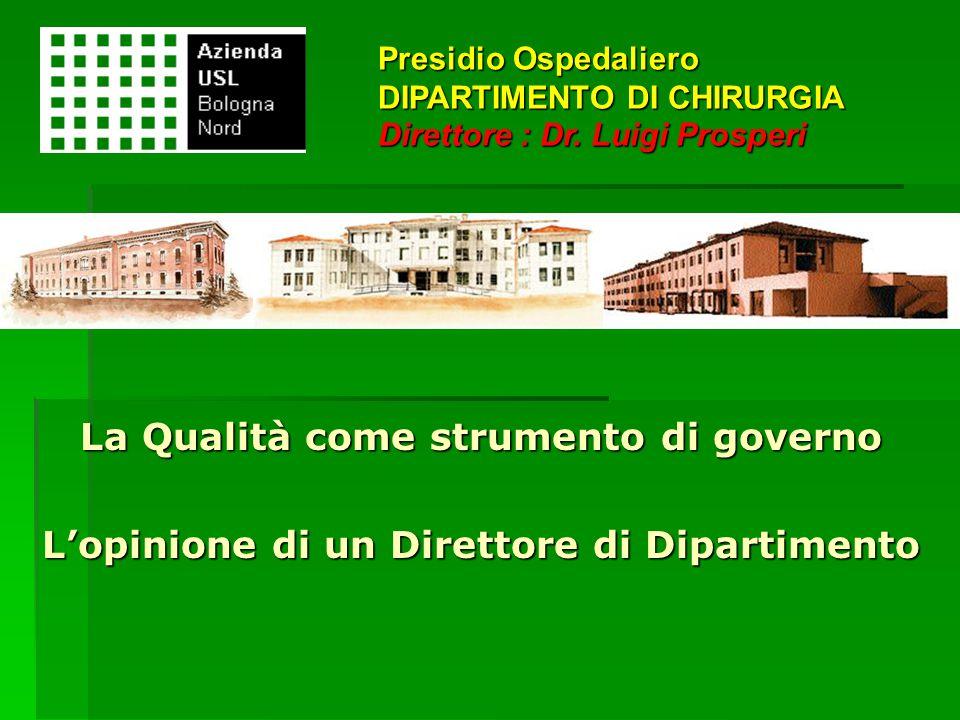 La Qualità come strumento di governo L'opinione di un Direttore di Dipartimento Presidio Ospedaliero DIPARTIMENTO DI CHIRURGIA Direttore : Dr. Luigi P