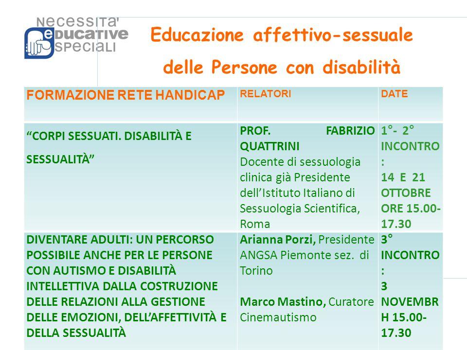 Educazione affettivo-sessuale delle Persone con disabilità FORMAZIONE RETE HANDICAP RELATORIDATE CORPI SESSUATI.