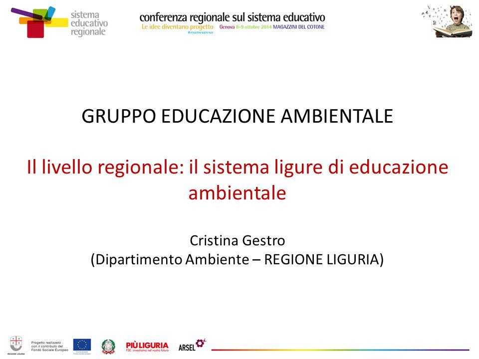 GRUPPO EDUCAZIONE AMBIENTALE Il livello regionale: il sistema ligure di educazione ambientale Cristina Gestro (Dipartimento Ambiente – REGIONE LIGURIA)
