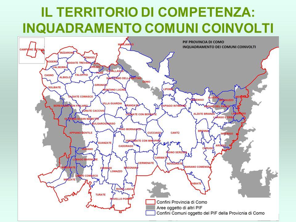 IL TERRITORIO DI COMPETENZA: INQUADRAMENTO COMUNI COINVOLTI
