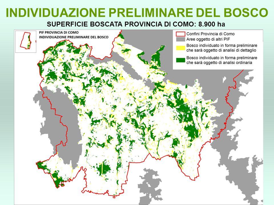 SUPERFICIE BOSCATA PROVINCIA DI COMO: 8.900 ha INDIVIDUAZIONE PRELIMINARE DEL BOSCO