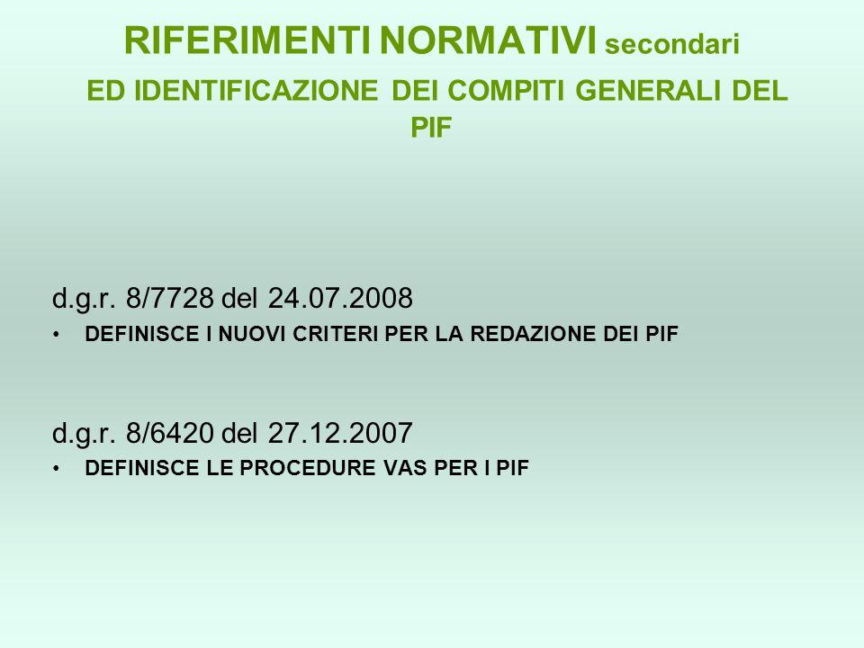 RIFERIMENTI NORMATIVI secondari ED IDENTIFICAZIONE DEI COMPITI GENERALI DEL PIF d.g.r. 8/7728 del 24.07.2008 DEFINISCE I NUOVI CRITERI PER LA REDAZION