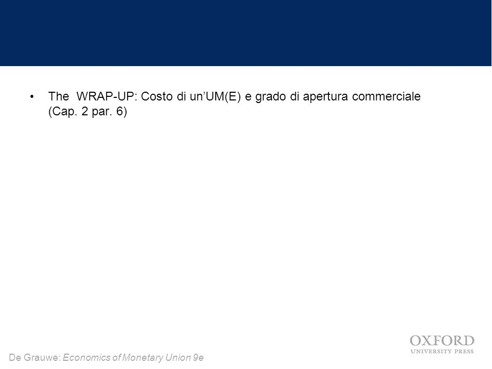 De Grauwe: Economics of Monetary Union 9e The WRAP-UP: Costo di un'UM(E) e grado di apertura commerciale (Cap.