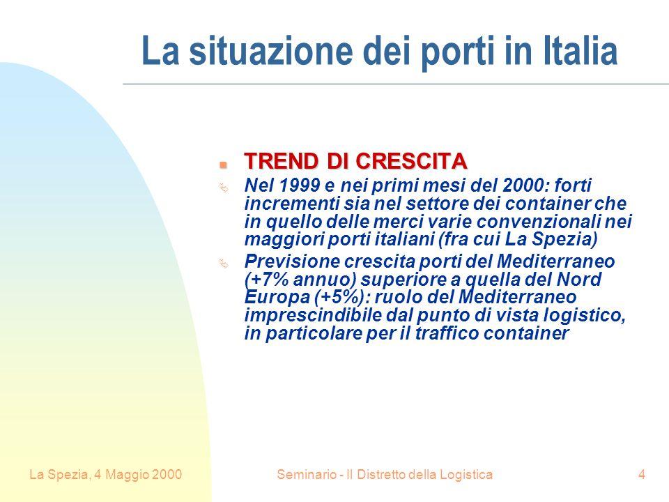 La Spezia, 4 Maggio 2000Seminario - Il Distretto della Logistica4 La situazione dei porti in Italia n TREND DI CRESCITA  Nel 1999 e nei primi mesi del 2000: forti incrementi sia nel settore dei container che in quello delle merci varie convenzionali nei maggiori porti italiani (fra cui La Spezia)  Previsione crescita porti del Mediterraneo (+7% annuo) superiore a quella del Nord Europa (+5%): ruolo del Mediterraneo imprescindibile dal punto di vista logistico, in particolare per il traffico container