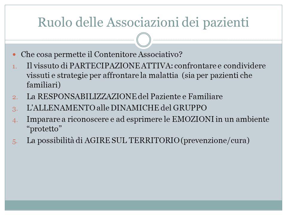Ruolo delle Associazioni dei pazienti Che cosa permette il Contenitore Associativo? 1. Il vissuto di PARTECIPAZIONE ATTIVA: confrontare e condividere