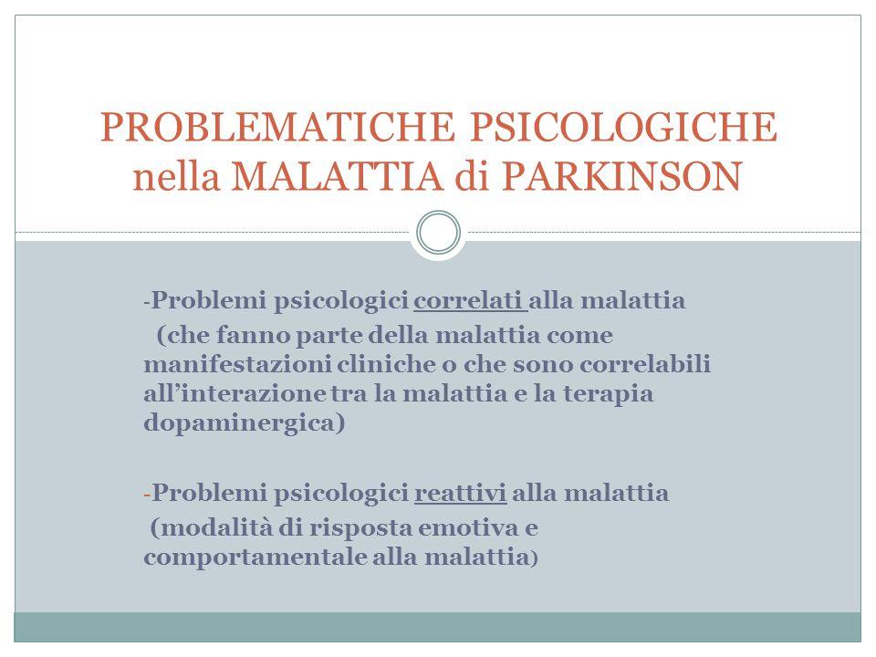 - Problemi psicologici correlati alla malattia (che fanno parte della malattia come manifestazioni cliniche o che sono correlabili all'interazione tra