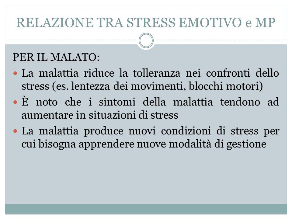 RELAZIONE TRA STRESS EMOTIVO e MP PER IL MALATO: La malattia riduce la tolleranza nei confronti dello stress (es. lentezza dei movimenti, blocchi moto