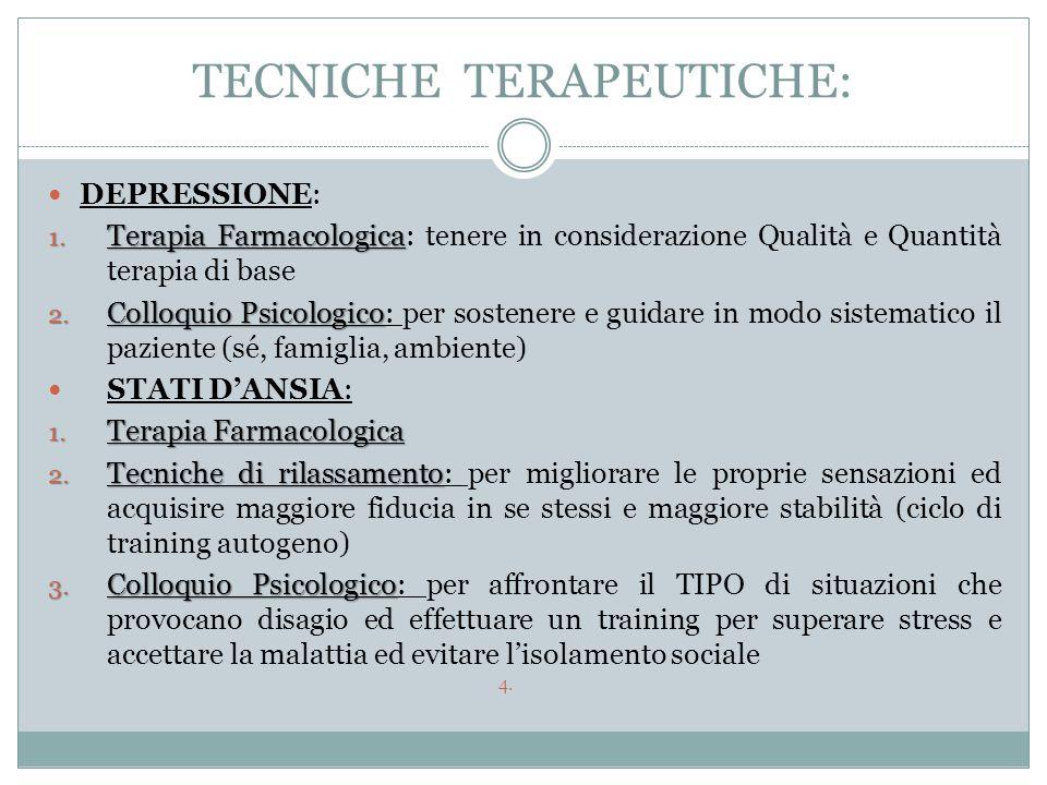 TECNICHE TERAPEUTICHE: DEPRESSIONE: 1. Terapia Farmacologica 1. Terapia Farmacologica: tenere in considerazione Qualità e Quantità terapia di base 2.