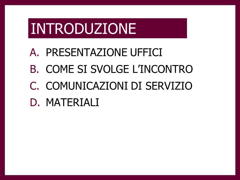 INTRODUZIONE A.PRESENTAZIONE UFFICI B.COME SI SVOLGE L'INCONTRO C.COMUNICAZIONI DI SERVIZIO D.MATERIALI