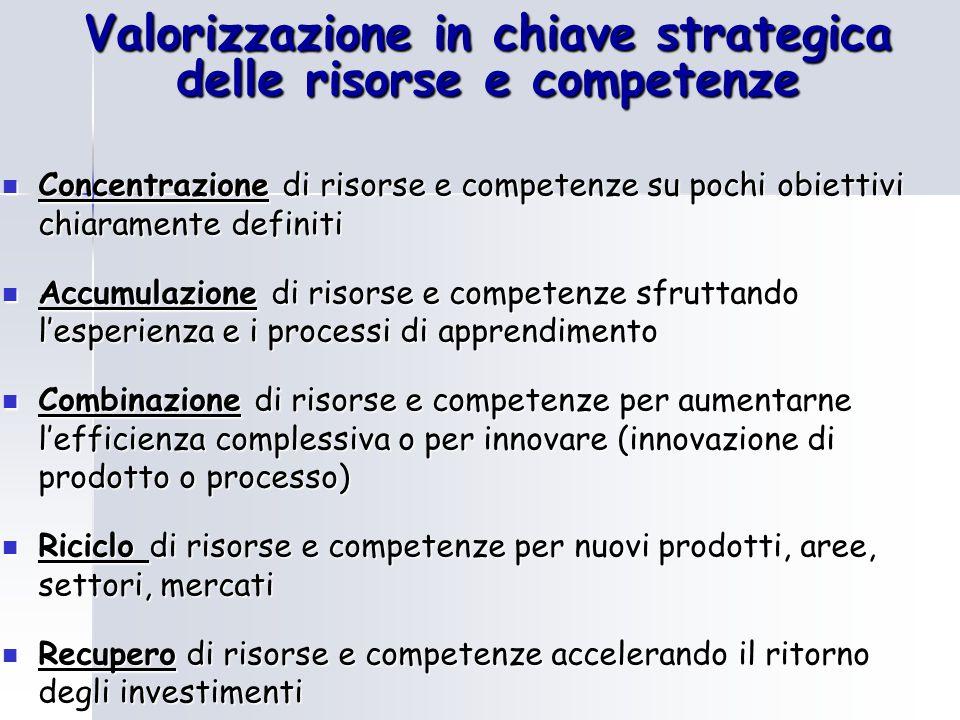 Valorizzazione in chiave strategica delle risorse e competenze Concentrazione di risorse e competenze su pochi obiettivi chiaramente definiti Concentr